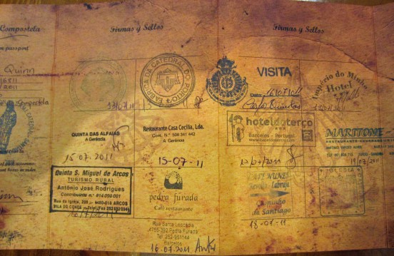 Part of my credencial, or pilgrim passport.