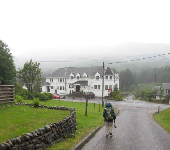 Arrival at the Bridge of Orchy Hotel. Warmth, dryness and a bottle of cider.