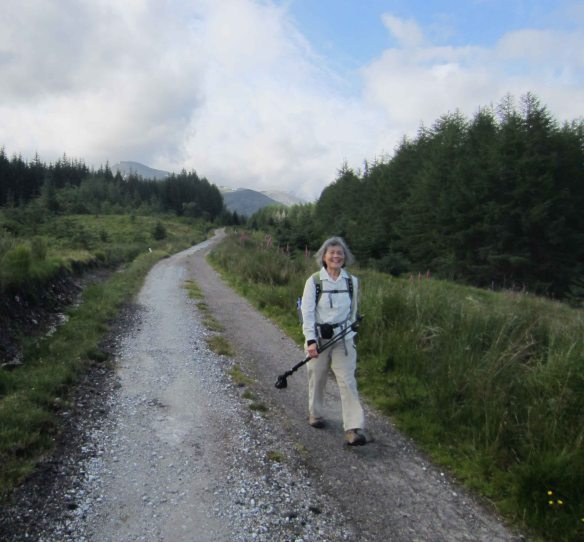 A hardened walker: Emmy strides that path between Spean Bridge and Fort William.