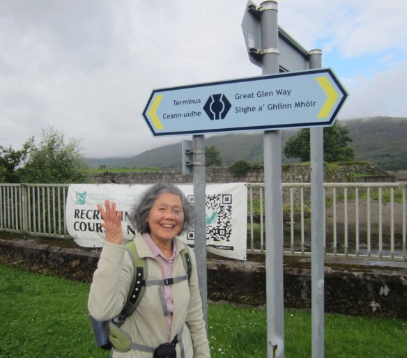 Emmy at the start-point of the Great Glen Way in the centre of Fort William