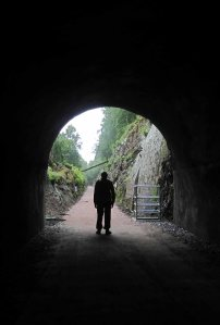 The Great Glen Way runs through a disused railway tunnel on the south bank of Loch Oich.