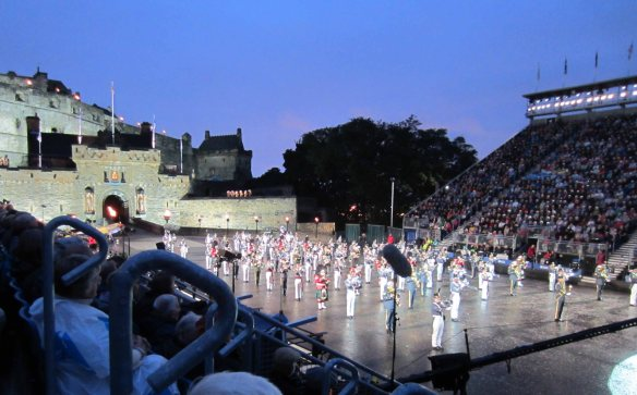The Royal Military Tattoo about to get under way as night falls over Edinburgh Castle.
