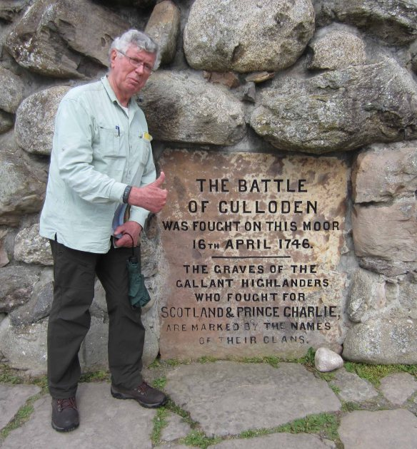 At a memorial cairn on the Culloden battlefield.
