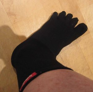 Not beautiful, but an effective solution to chafing and blisters. Injinji toe socks.