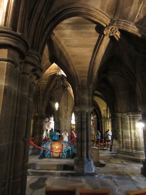 The grave of Glasgow's patron saint St. Mungo underneath the main nave of Glasgow Cathedral.