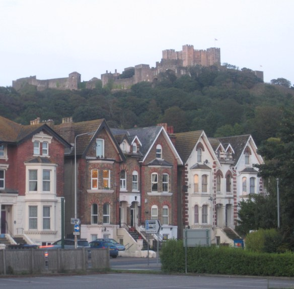 Dover Castle above the Victorian villas of Dover city. Our B&B was a similar building in the same street.
