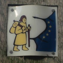 One of the small icons guiding walkers along the Pilgrim Way to Canterbury.