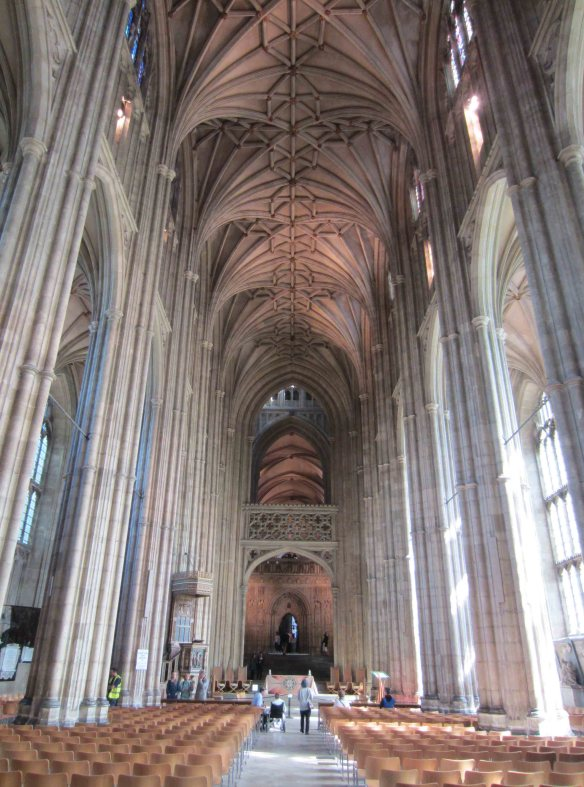 The main nave of Canterbury Cathedral. To give you an idea of its dimensions, the tiny figure standing bottom-centre is Emmy.