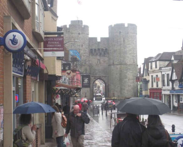 We arrive in steady rain at the medieval West Gate of Canterbury city...