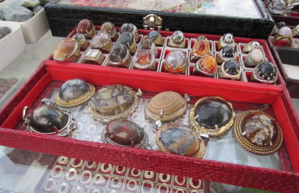 A tray of akik rings on sale in Sumenep.