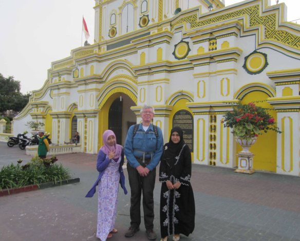 I pose with Ita (left) and Rennie (right) in front of the big entry gate leading to the Grand Mosque.